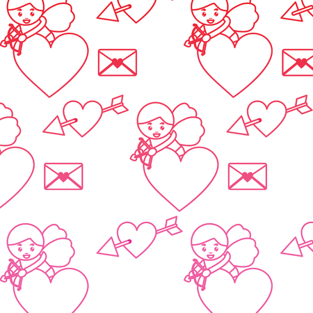 cupid heart love letter valentines day pattern image vector illustration design  pink line