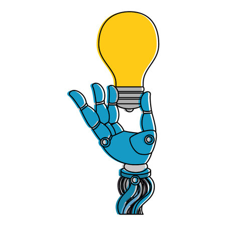 Robot hand with bulb vector illustration design