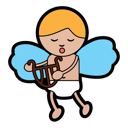 baby angel playing harp lyre  icon image vector illustration design Illustration