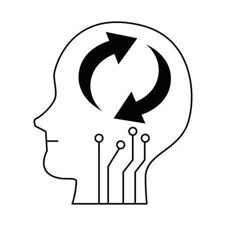 Head profile with arrows reload vector illustration design Stock fotó - 96589044