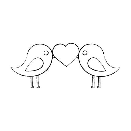 dwergpapegaaien hart pictogram afbeelding vector illustratie ontwerp zwarte schets lijn Stock Illustratie