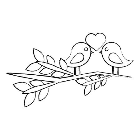 dwergpapegaaien hart op tak pictogram afbeelding vector illustratie ontwerp zwarte schets lijn