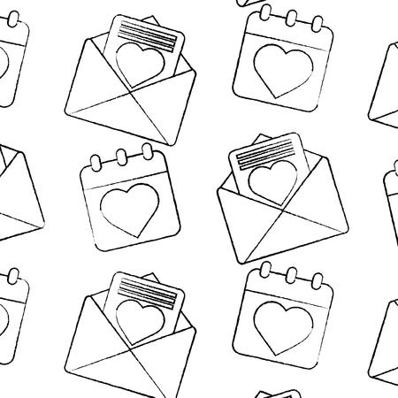 Love letter calendar valentines day related pattern image vector illustration design black sketch line