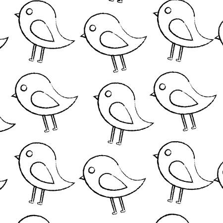 鳥漫画パターン画像ベクトルイラストデザイン黒スケッチライン