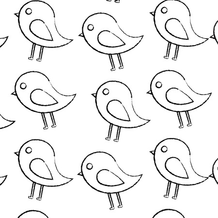 bird cartoon pattern image vector illustration design  black sketch line Banco de Imagens - 96596969