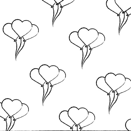 heart balloons valentines day related pattern image vector illustration design  black sketch line