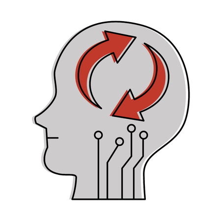 Human head's profile with arrows reload vector illustration design