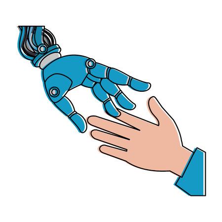 Human hand and robot vector illustration design