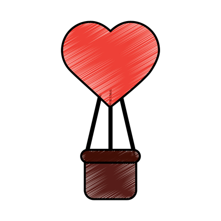 hot air balloon with heart valentines day related icon image vector illustration design  sketch style