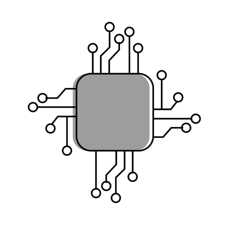 Processor  electrical circuit, icon vector illustration design Çizim