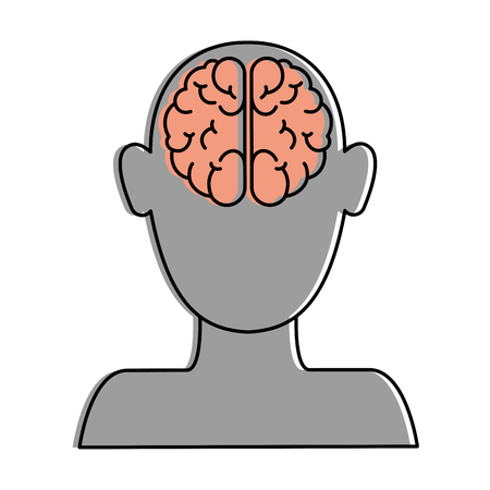 Human avatar with brain vector illustration design