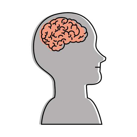 A humans profile with brain vector illustration design