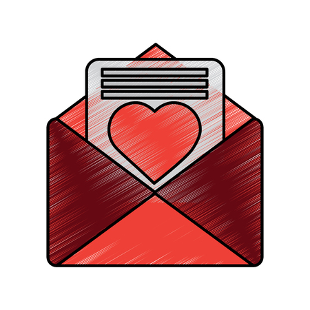 love letter valentines day related icon image vector illustration design  sketch style Illustration