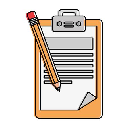 Colored clipboard checklist document with pencil vector illustration design Illustration