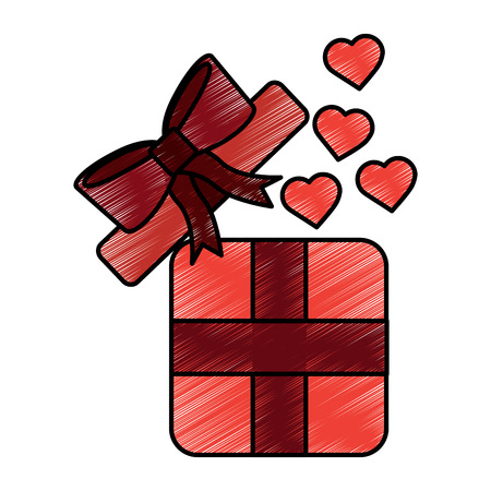 gift box with hearts valentines day related icon image vector illustration design  sketch style