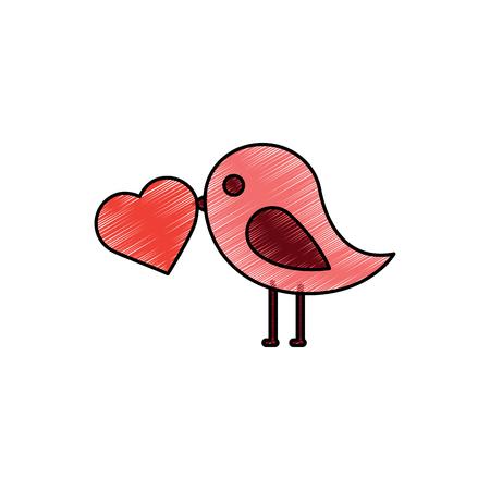 ハート漫画アイコン画像ベクトルイラストデザインスケッチスタイルを持つ鳥