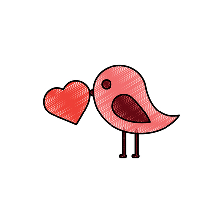bird with heart cartoon icon image vector illustration design  sketch style