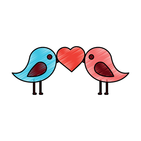 lovebirds heart icon image vector illustration design  sketch style