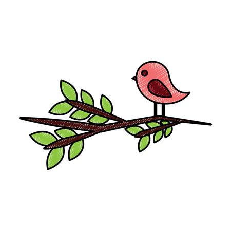 Vogel auf Zweig Cartoon Symbol Bild Vektor Illustration Design Skizze Stil Standard-Bild - 96597016