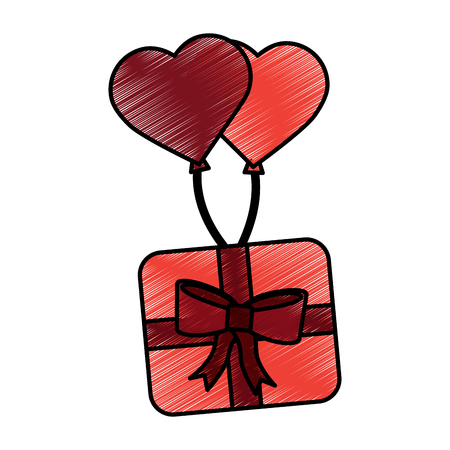 gift box with heart balloons valentines day related icon image vector illustration design  sketch style