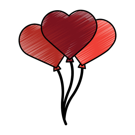 heart balloons valentines day related icon image vector illustration design  sketch style Ilustrace