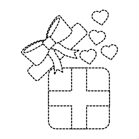 Gift box with hearts valentines day related icon image vector illustration design black dotted line Illustration