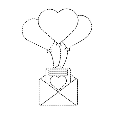 Love letter with balloons valentines day related icon image. Vector illustration design black and white.