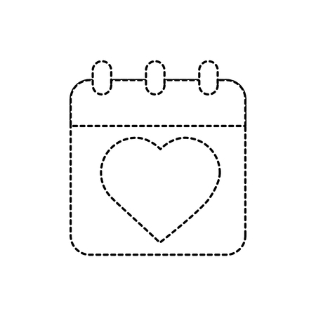 calendar valentines day related icon image vector illustration design  black dotted line