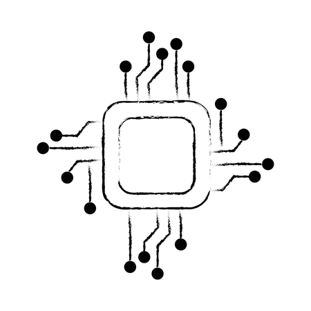 Processor circuit electrical icon vector illustration design