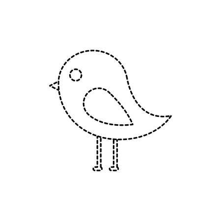 bird cartoon icon image vector illustration design  black dotted line