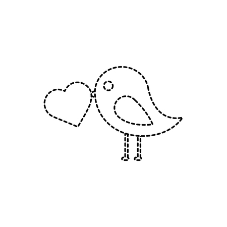 Bird with heart cartoon icon image vector illustration design black dotted line Illustration
