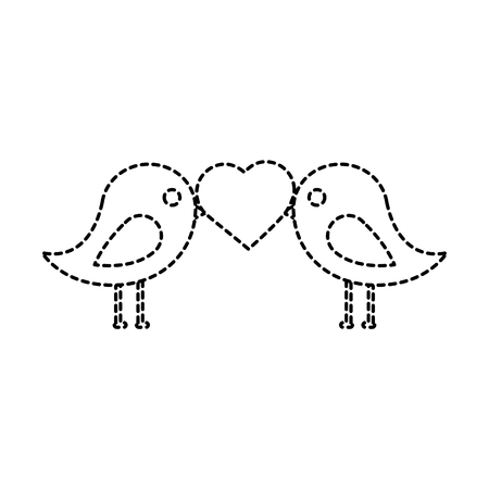 Lovebirds heart icon image vector illustration design black dotted line
