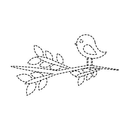 Vogel auf Niederlassungskarikaturikonenbildvektor-Illustrationsdesignschwarzer punktierter Linie Standard-Bild - 96607056