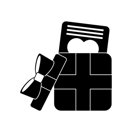 gift box valentines day related icon image vector illustration design  black and white