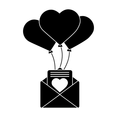 Love letter with balloons valentines day related icon image vector illustration design black and white