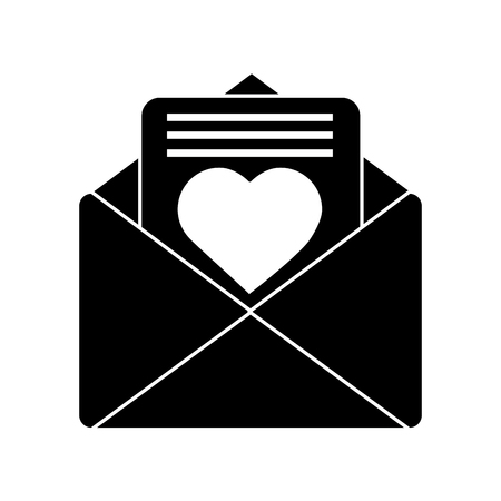 Love letter valentines day related icon image vector illustration design black and white