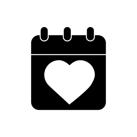 calendar valentines day related icon image vector illustration design  black and white
