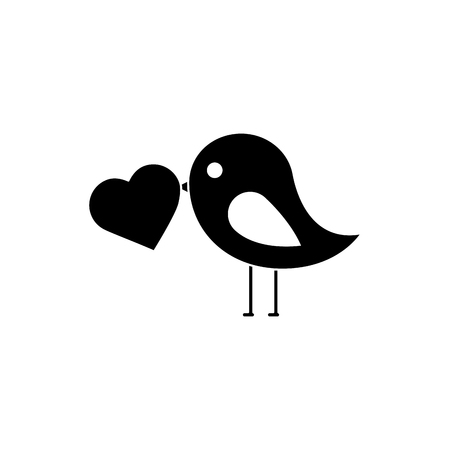 Bird with heart cartoon icon image. Vector illustration design black and white.