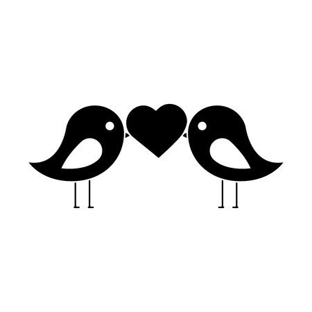 Lovebirds heart icon image vector illustration design black and white Ilustração