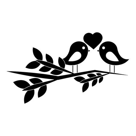 Dwergpapegaaien hart op tak pictogramafbeelding. Vector zwart-wit illustratieontwerp.