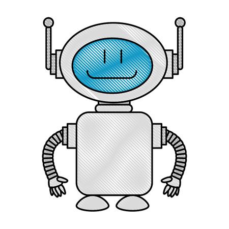 A technological robot character icon vector illustration design Illustration