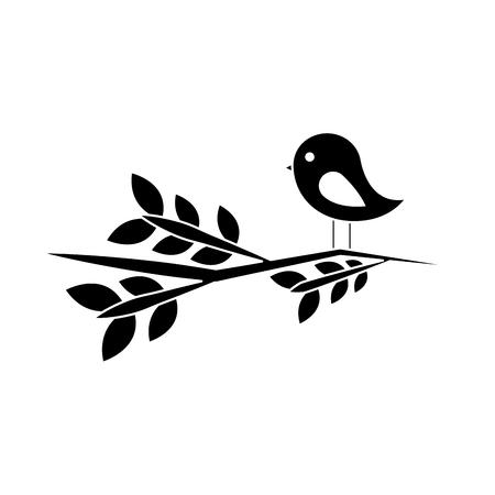 Vogel auf dem Niederlassungskarikaturikonenbildvektor-Illustrationsdesign Schwarzweiss Standard-Bild - 96607059