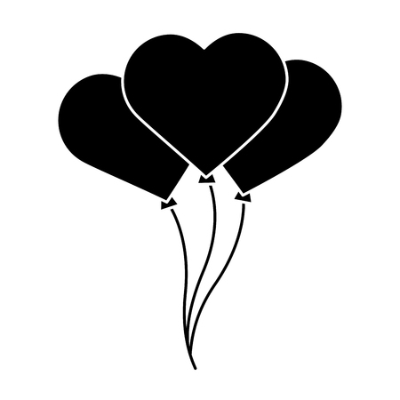 Heart balloons valentines day related icon image vector illustration design black and white