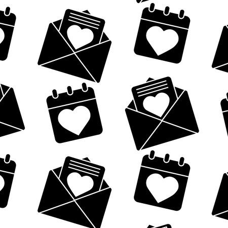 Love letter calendar valentines day related pattern image. Vector illustration design black and white.