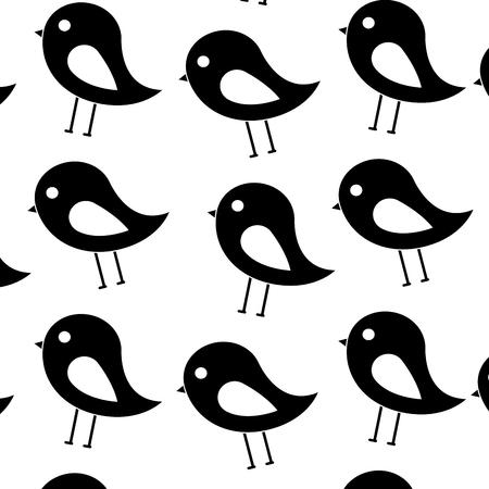 鳥漫画パターン画像ベクトルイラストデザイン黒と白