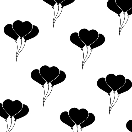 Heart balloons valentines day related pattern image vector illustration design black and white Illustration