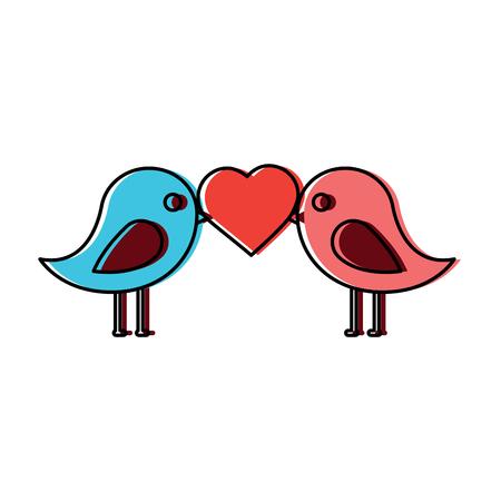 Lovebirds heart icon image vector illustration design Illustration