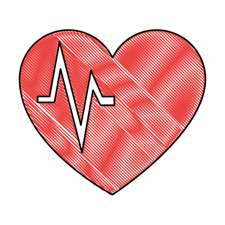 A red heart cardiology isolated icon vector illustration design
