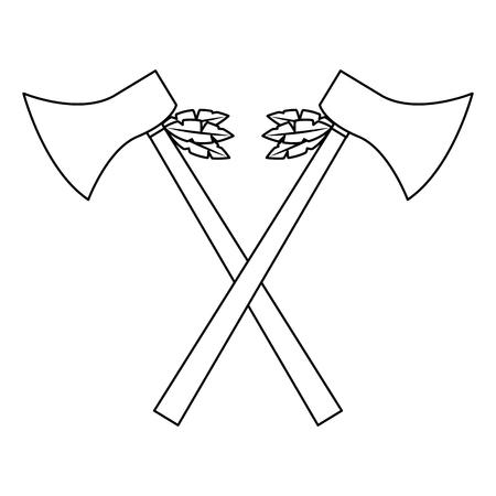 ハチェットは武器を横断古代の伝統的なアイコン画像ベクトルイラストデザイン  イラスト・ベクター素材