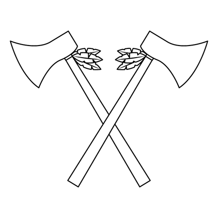 Hatchets crossed weapon ancient traditional icon image vector illustration design